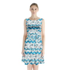 Baby Blue Chevron Grunge Sleeveless Waist Tie Chiffon Dress