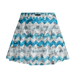 Baby Blue Chevron Grunge Mini Flare Skirt