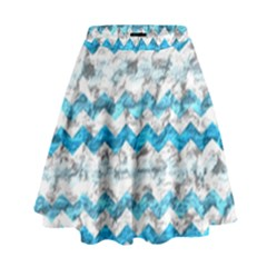 Baby Blue Chevron Grunge High Waist Skirt