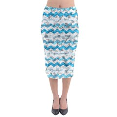 Baby Blue Chevron Grunge Midi Pencil Skirt