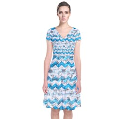 Baby Blue Chevron Grunge Short Sleeve Front Wrap Dress