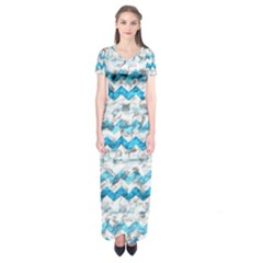 Baby Blue Chevron Grunge Short Sleeve Maxi Dress