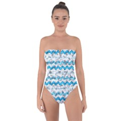 Baby Blue Chevron Grunge Tie Back One Piece Swimsuit