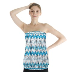 Baby Blue Chevron Grunge Strapless Top