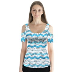 Baby Blue Chevron Grunge Butterfly Sleeve Cutout Tee