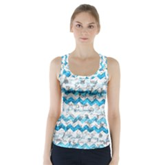 Baby Blue Chevron Grunge Racer Back Sports Top