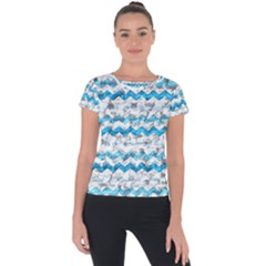 Baby Blue Chevron Grunge Short Sleeve Sports Top