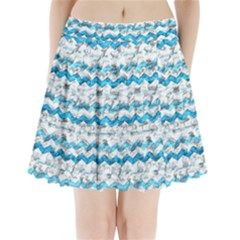 Baby Blue Chevron Grunge Pleated Mini Skirt