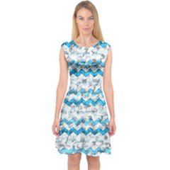 Baby Blue Chevron Grunge Capsleeve Midi Dress