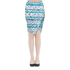 Baby Blue Chevron Grunge Midi Wrap Pencil Skirt