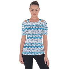 Baby Blue Chevron Grunge Short Sleeve Top