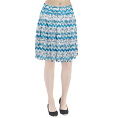 Baby Blue Chevron Grunge Pleated Skirt