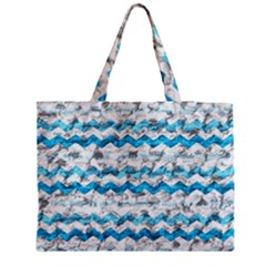 Baby Blue Chevron Grunge Medium Tote Bag