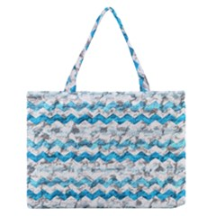 Baby Blue Chevron Grunge Zipper Medium Tote Bag