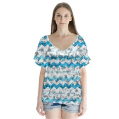 Baby Blue Chevron Grunge Flutter Sleeve Top