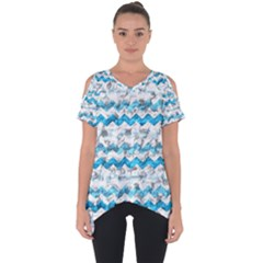 Baby Blue Chevron Grunge Cut Out Side Drop Tee