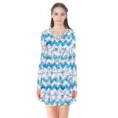 Baby Blue Chevron Grunge Flare Dress