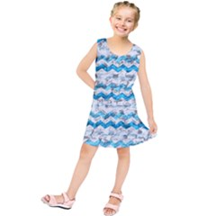 Baby Blue Chevron Grunge Kids  Tunic Dress