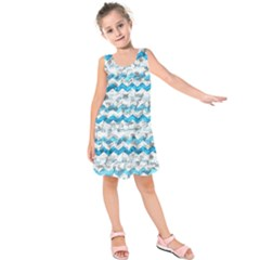 Baby Blue Chevron Grunge Kids  Sleeveless Dress