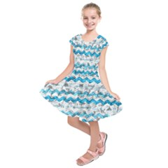 Baby Blue Chevron Grunge Kids  Short Sleeve Dress