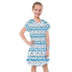 Baby Blue Chevron Grunge Kids  Drop Waist Dress