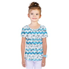 Baby Blue Chevron Grunge Kids  One Piece Tee