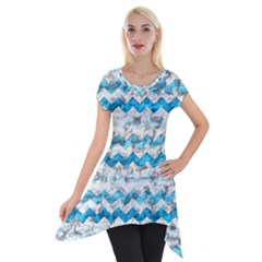 Baby Blue Chevron Grunge Short Sleeve Side Drop Tunic