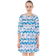Baby Blue Chevron Grunge Smock Dress