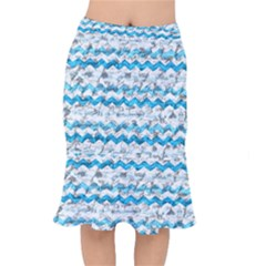 Baby Blue Chevron Grunge Mermaid Skirt