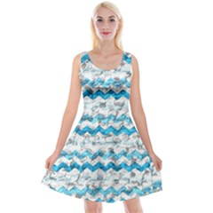 Baby Blue Chevron Grunge Reversible Velvet Sleeveless Dress