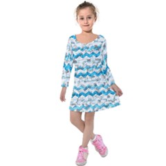 Baby Blue Chevron Grunge Kids  Long Sleeve Velvet Dress