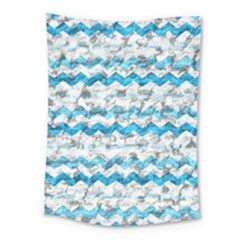 Baby Blue Chevron Grunge Medium Tapestry