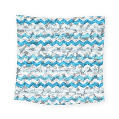 Baby Blue Chevron Grunge Square Tapestry (small)