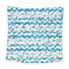 Baby Blue Chevron Grunge Square Tapestry (large)