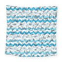 Baby Blue Chevron Grunge Square Tapestry (Large) View1