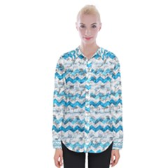 Baby Blue Chevron Grunge Womens Long Sleeve Shirt