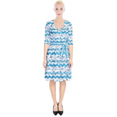 Baby Blue Chevron Grunge Wrap Up Cocktail Dress