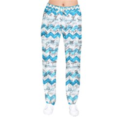 Baby Blue Chevron Grunge Drawstring Pants