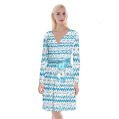 Baby Blue Chevron Grunge Long Sleeve Velvet Front Wrap Dress