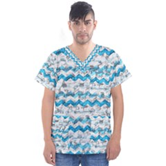 Baby Blue Chevron Grunge Men s V Neck Scrub Top