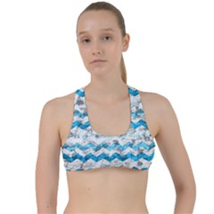 Baby Blue Chevron Grunge Criss Cross Racerback Sports Bra