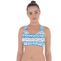 Baby Blue Chevron Grunge Cross String Back Sports Bra
