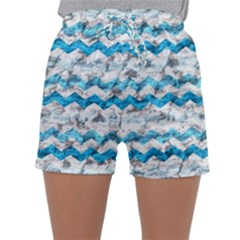 Baby Blue Chevron Grunge Sleepwear Shorts