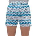 Baby Blue Chevron Grunge Sleepwear Shorts View1