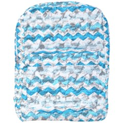 Baby Blue Chevron Grunge Full Print Backpack