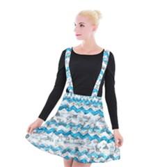 Baby Blue Chevron Grunge Suspender Skater Skirt