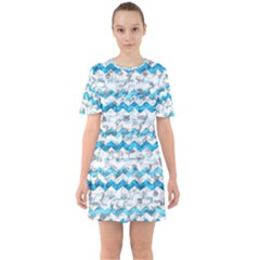 Baby Blue Chevron Grunge Mini Dress