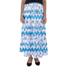 Baby Blue Chevron Grunge Flared Maxi Skirt