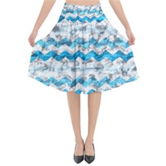 Baby Blue Chevron Grunge Flared Midi Skirt