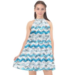 Baby Blue Chevron Grunge Halter Neckline Chiffon Dress